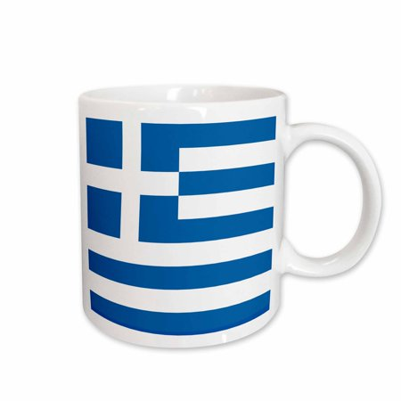 3dRose Flag of Greece - Greek sky blue white stripes with cross Mediterranean Europe world country souvenir, Ceramic Mug, (All The Flags Of The World Cup)