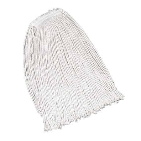 Rubbermaid Commercial Economy Cotton Mop Heads, Cut-End, Ctn, WH, 32 oz, 1-in. White Headband, 12/CT