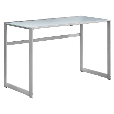 COMPUTER DESK - 48u0022L / SILVER METAL/ WHITE TEMPERED GLASS