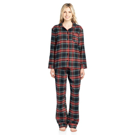 Ashford   Brooks Women s Flannel Plaid Pajamas Long Pj Set - Black Stewart  - 4X- e56f0ff7b