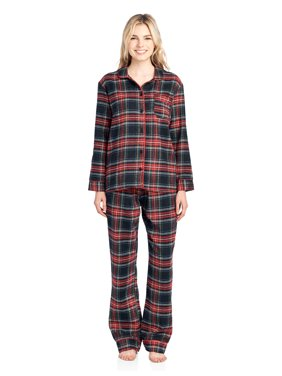 1a174d227c Product Image Ashford   Brooks Women s Flannel Plaid Pajamas Long Pj Set -  Black Stewart ...