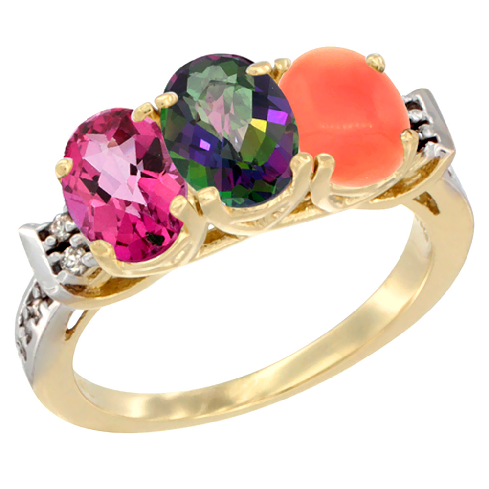 10K Yellow Gold Natural Pink Topaz, Mystic Topaz & Coral Ring 3-Stone Oval 7x5 mm Diamond Accent, sizes 5 10 by WorldJewels
