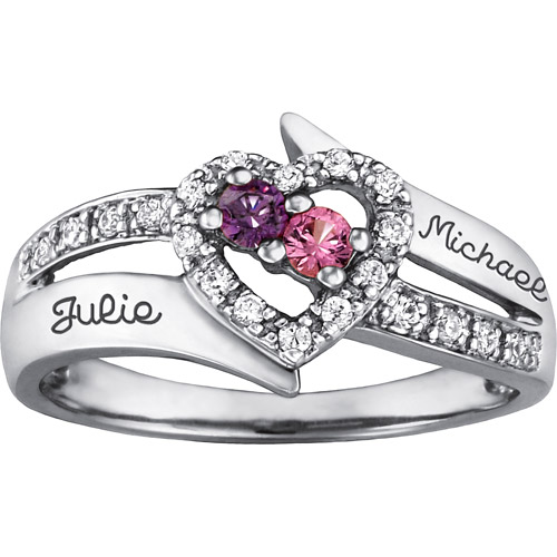 Keepsake Personalized Family Jewelry Enchantment Promise Ring available in Sterling Silver, Gold and White Gold