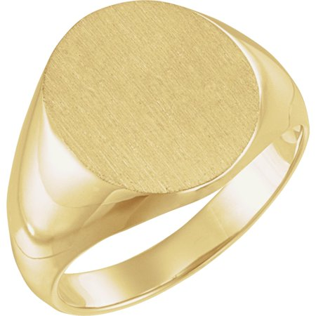 10K Yellow Gold 14x12 mm Solid Oval Men's Signet Ring Solid Oval Signet Ring