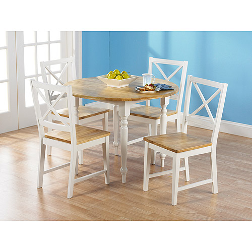 Virginia Round Drop Leaf 5 Piece Dining Set, White and Natural
