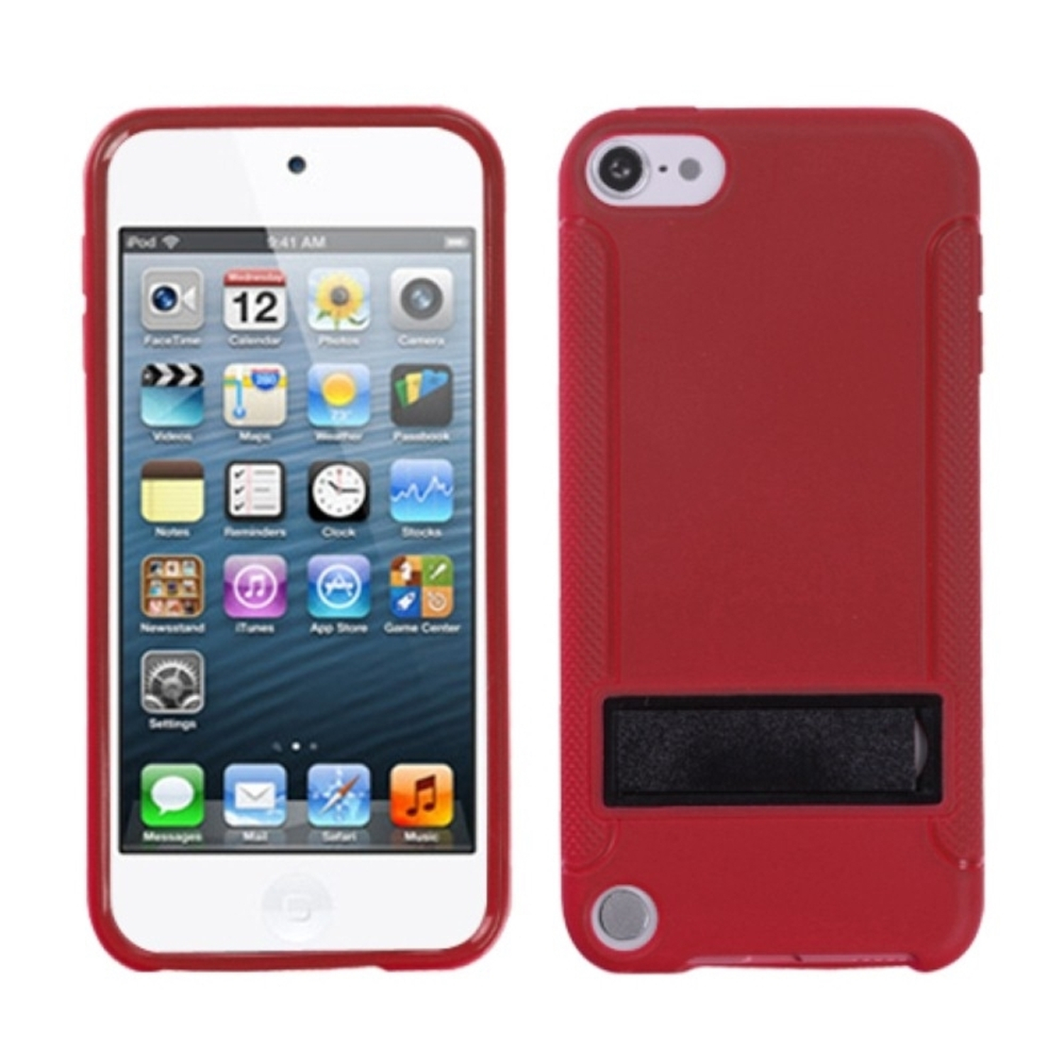 Insten Solid Black/Solid Red (With Stand) Gummy Cover Case for iPod touch (5 5G 5th 6 6G 6th Gen)