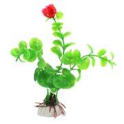 Fisk Tank Aquarium Ceramic Base Plastic Aquatic Plant Decor Ornament Red Green