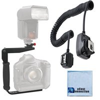 180 Degree Quick Flip rotating Flash Bracket & Heavy Duty Off-Camera Flash Cord that Stretch to 3 Feet for Olympus + an eCostConnection Microfiber Cloth