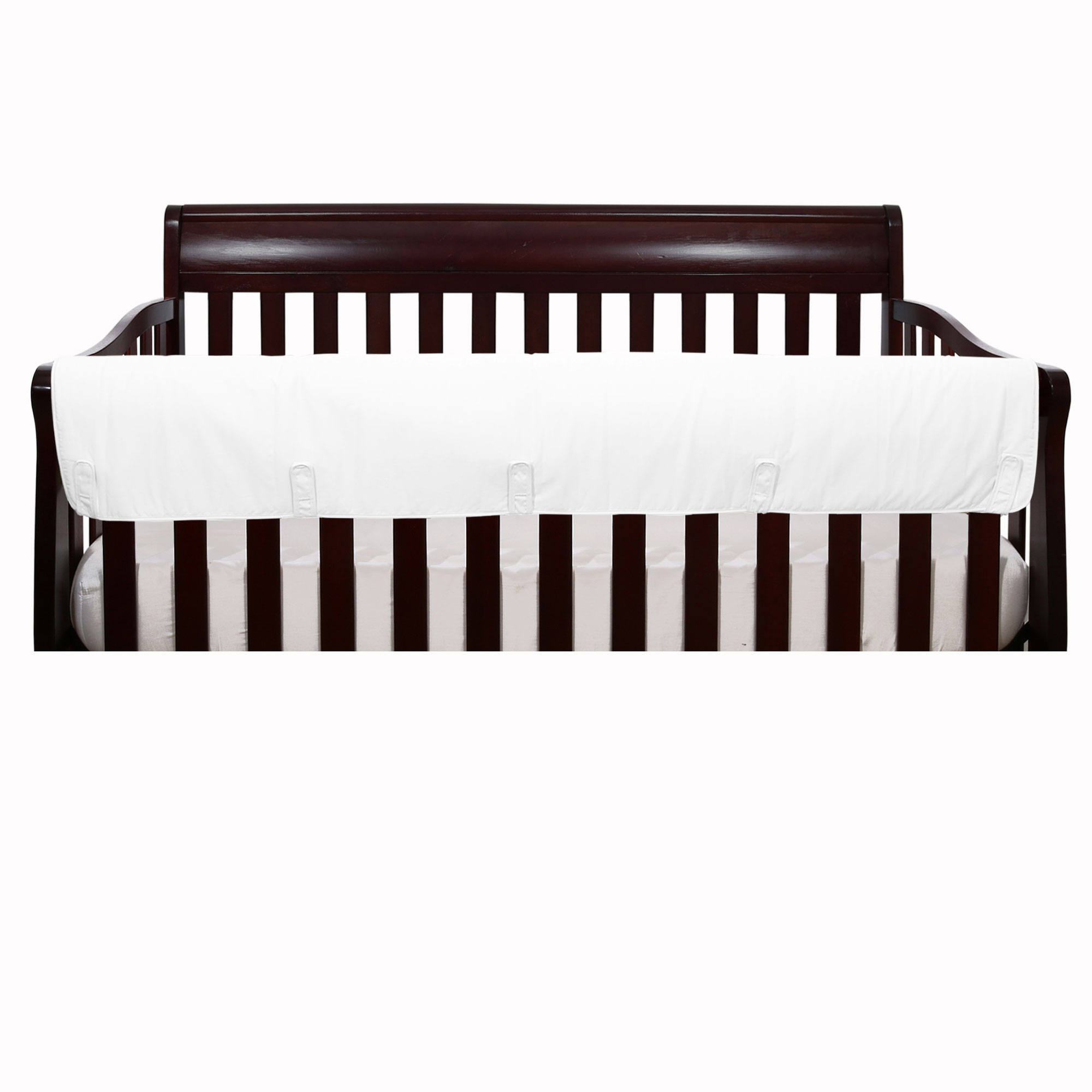 The Peanut Shell Baby Crib Rail Guard - Solid White Front Crib Rail Guard Padded Protector