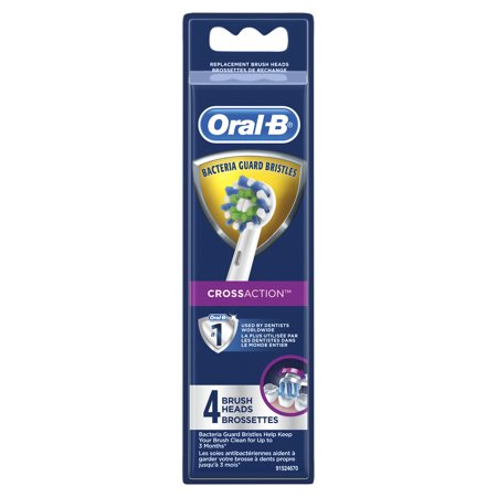Oral-B CrossAction Electric Toothbrush Heads, 4 count, white Braun Oral B Replacement Brush