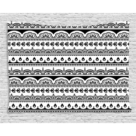 Tribal Tapestry, Ethnic Borders with Leaves Florals Flowers Ivy Swirls Indian Inspired Art Image, Wall Hanging for Bedroom Living Room Dorm Decor, 60W X 40L Inches, Black and White, by - Tribal Flowers