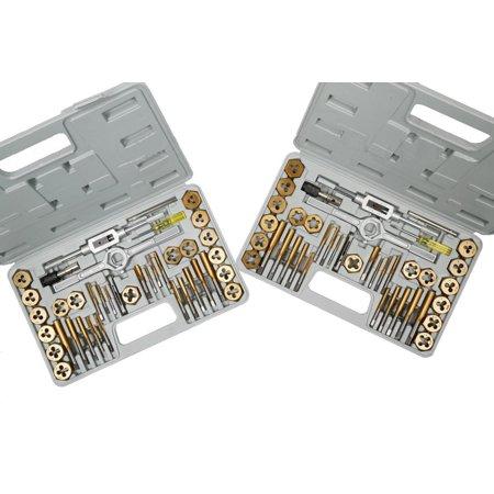 Steel Metric Tap Set (GHP 80-Pieces Titaniumm Coated Metric & SAE Hexagon Steel Tap & Die Tool Set Kit)
