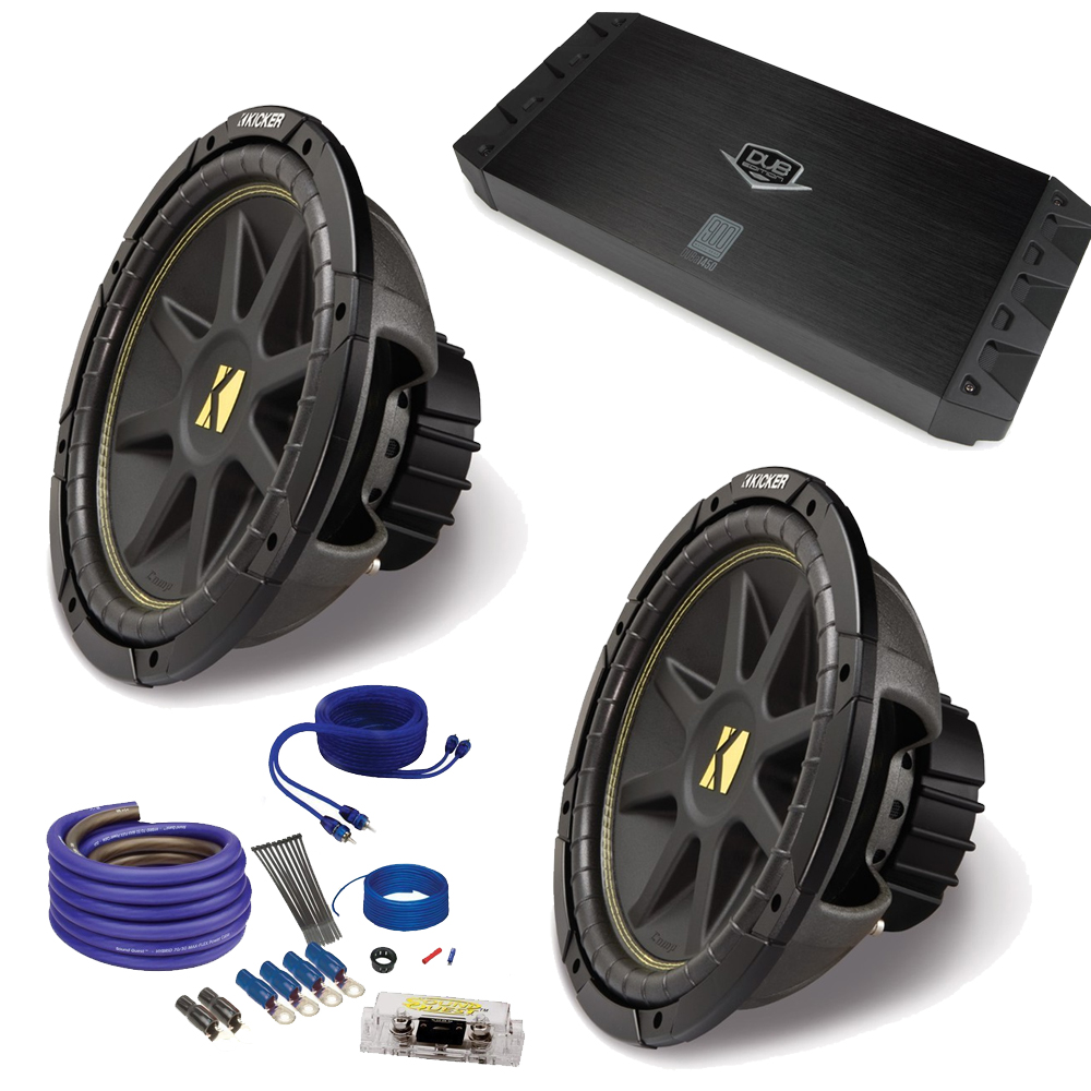 "(2) Kicker 10C104 10"" Comp Subwoofers and Crunch PX2000.1D 2000 Watt Max Mono Amplifier+ wire kit"