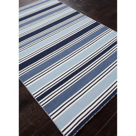 Jaipur Pura Vida Salada Flat Weave Stripe Pattern Wool Handmade Rug Brown Striped Wool Rug
