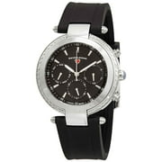 16175Sm-01 Madison Diamond Multi-Function Black Silicone And Dial Watch