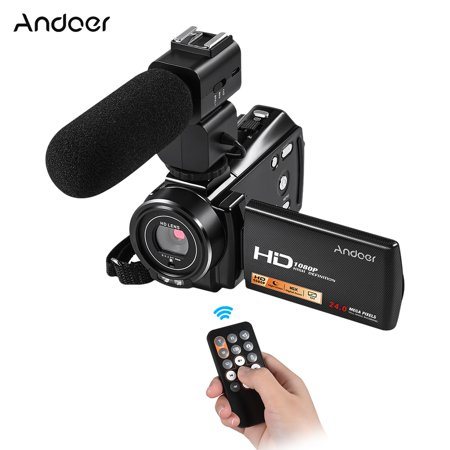 "Andoer HDV-V7 PLUS 1080P Full HD 24MP Portable Digital Video Camera Camcorder Remote Control Infrared Night Vision Recorder 16X Zoom 3.0"" Rotary LCD with External Microphone"