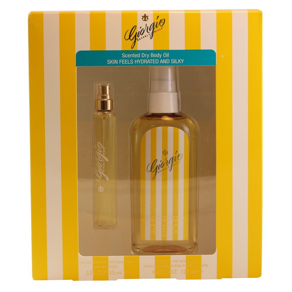 Giorgio Beverly Hills 2 Pc. Gift Set ( Eau De Toilette Natural Spray .5 Oz + Scented Dry Body Oil 4.2 Oz )