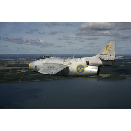 Bohuslan Sweden - Saab J 29 Flying Barrel vintage jet fighter of the Swedish Air Force Historic Flight Poster Print - Jets Flying