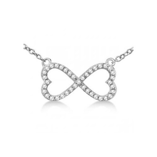 Seven Seas Jewelers Infinity Heart Shaped Diamond Pendant Fashion Necklace 14k White Gold Micro Pave Setting (0.39ct) by Brand New