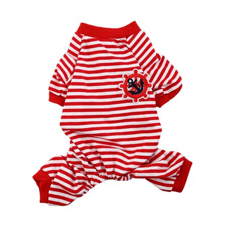 Pet Puppy Anchor Rudder Pattern Stripe Sleeping Dresses Clothes Pajamas Size (Anchor Patterns)