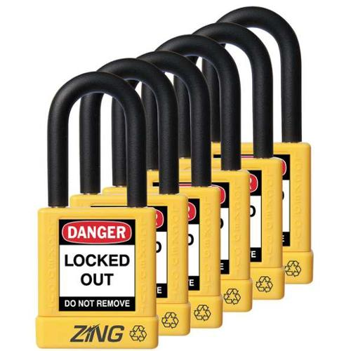 ZING 7069 Lockout Padlock, KA, Yellow, 1/4 In., PK6