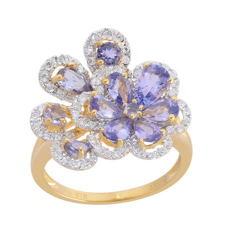 - 925 Sterling Silver Pear Tanzanite White Zircon Floral Fashion Ring For Women Cttw 2.8