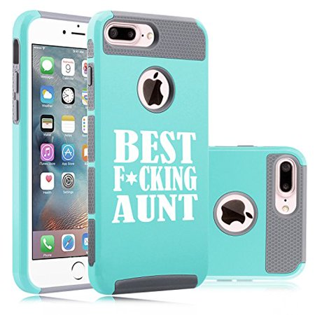 Shockproof Impact Hard Soft Case Cover for Apple iPhone Best F ing Aunt (Teal for iPhone 7