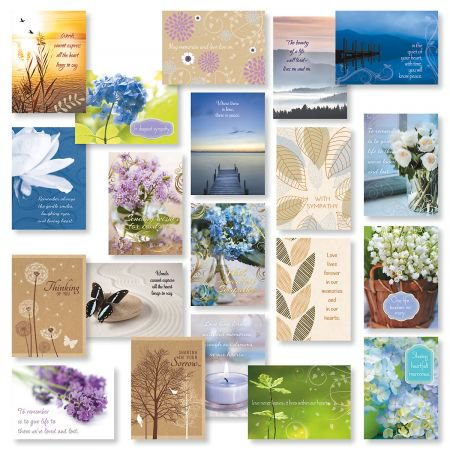 Mega Sympathy Greeting Card Value Pack - Set of 40 (2 of each design)