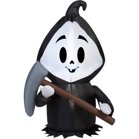 Gemmy Airblown Inflatable 3.5' X 2' Happy Reaper Halloween Decoration - Gemmy Halloween Decorations