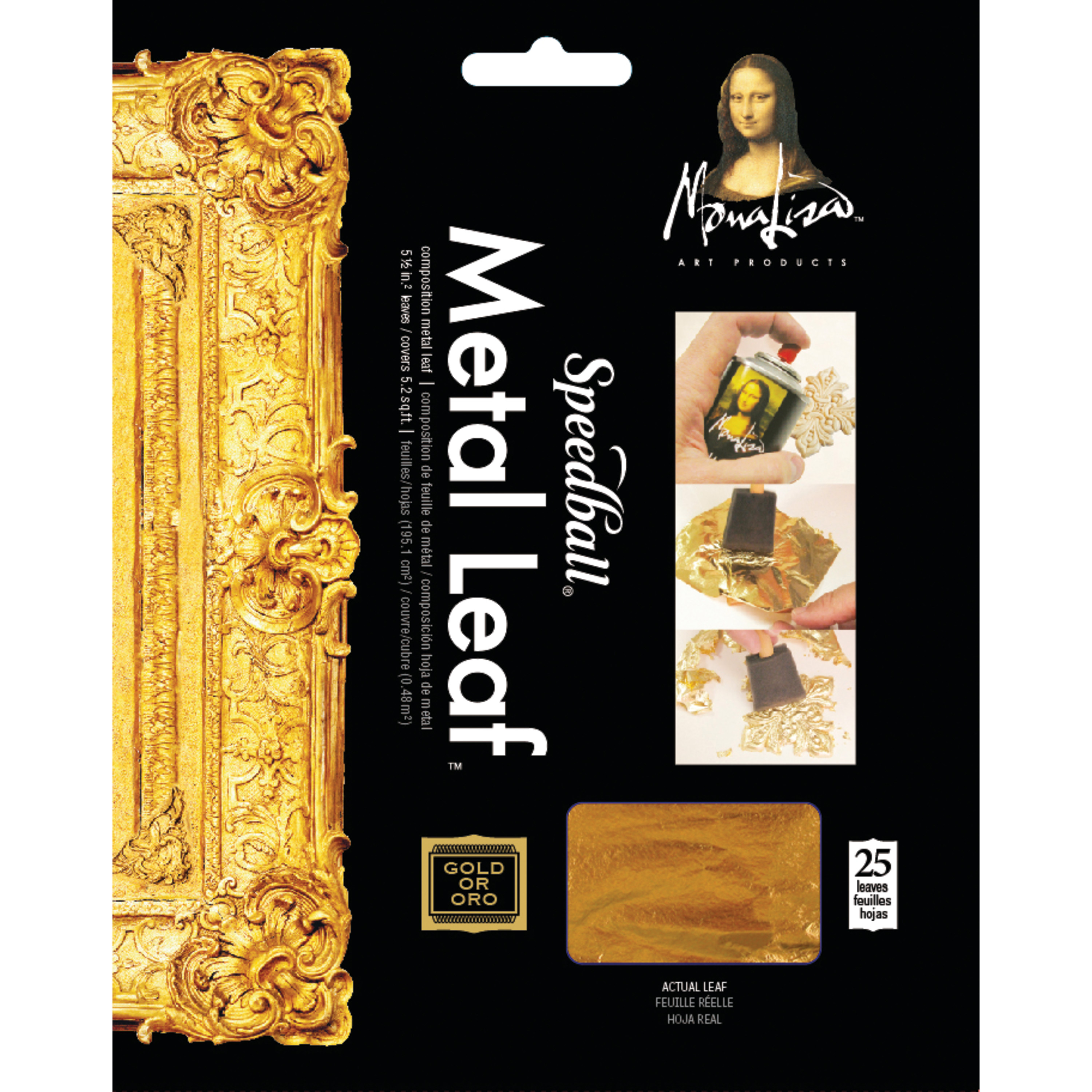 Mona Lisa Metal Leafing Sheet Gold 5-1/2in x 5-1/2in/Sheets Peggable