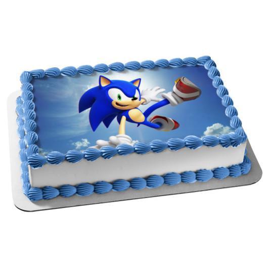 Brilliant Sonic The Hedgehog Kicking Edible Cake Topper Image Walmart Com Personalised Birthday Cards Veneteletsinfo