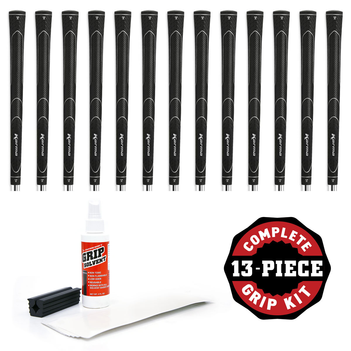 Karma Super Lite Black Standard - 13 pc Golf Grip Kit (with tape, solvent, vise clamp)