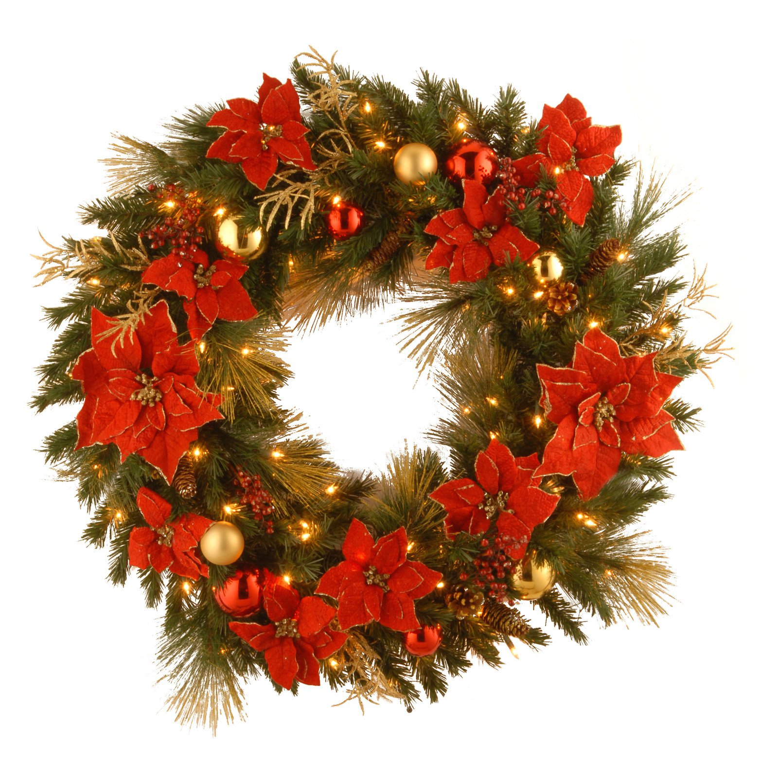 """National Tree Pre-Lit 36"""" Decorative Collection Home Spun Wreath with 100 Clear Lights"""