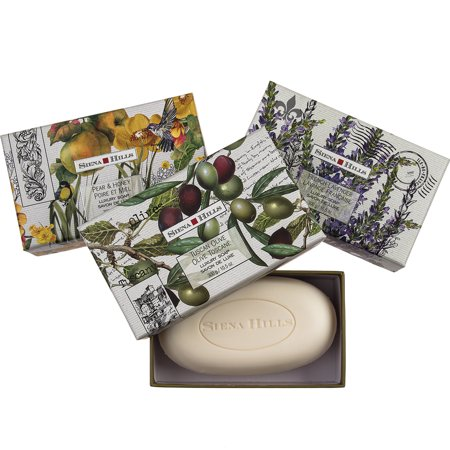Set of 3 Sienna Hills Shea Butter Bar Soaps Luxury Bath Body Soap Decorative Gift Box Bundle ()