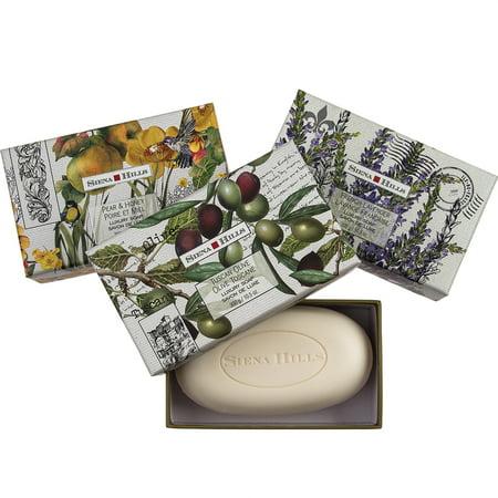 Set of 3 Sienna Hills Shea Butter Bar Soaps Luxury Bath Body Soap Decorative Gift Box Bundle