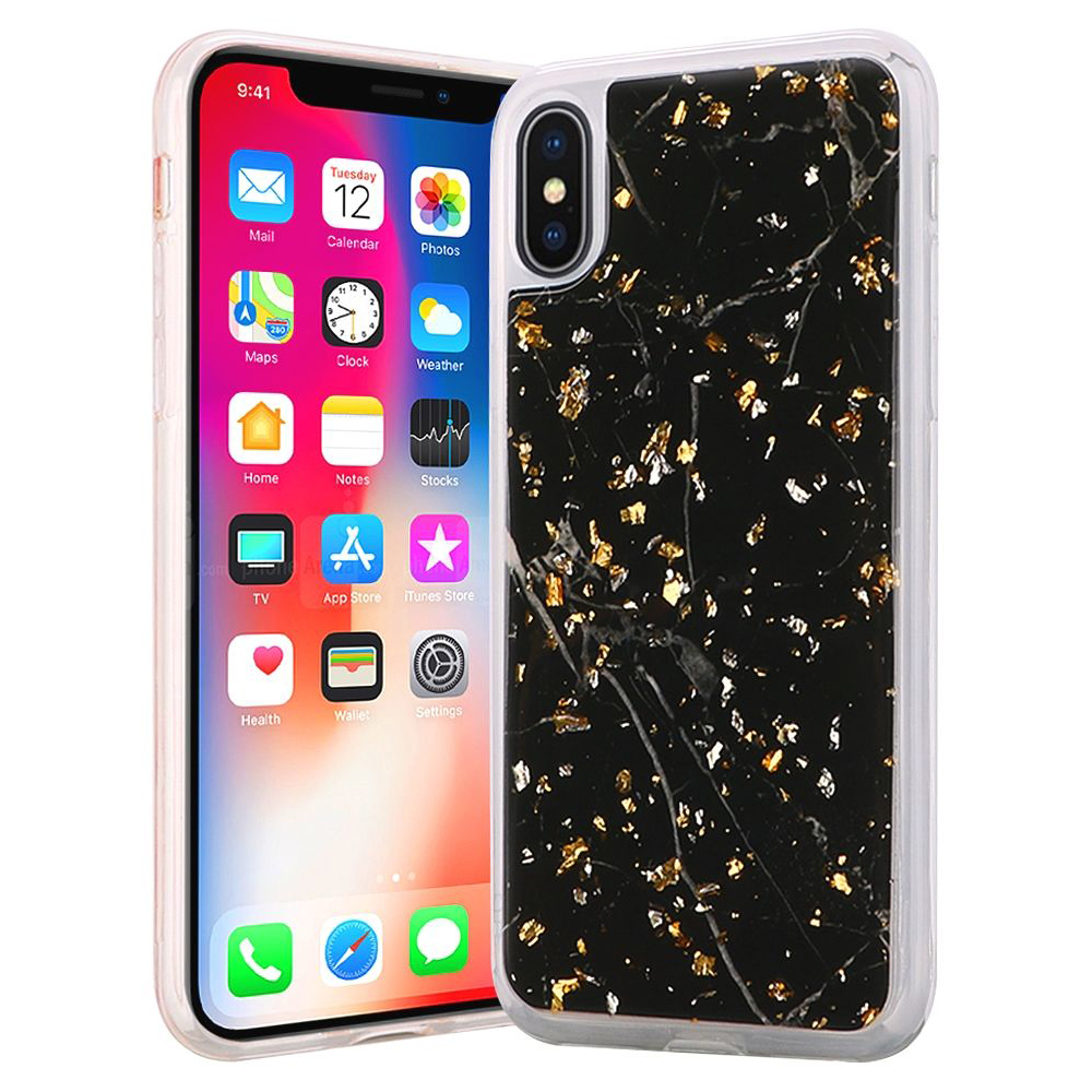 iPhone X Case, Shiny Marble Design Glitter Clear Bumper Matte TPU Soft Rubber Silicone Cover Phone Case for Apple iPhone X, iPhone 10 [2017] - Black