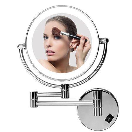 Excelvan LED Make Up Mirror 8 Inch Double Sided Swivel, Lighted Wall Mount Makeup Mirror with 5x Magnification