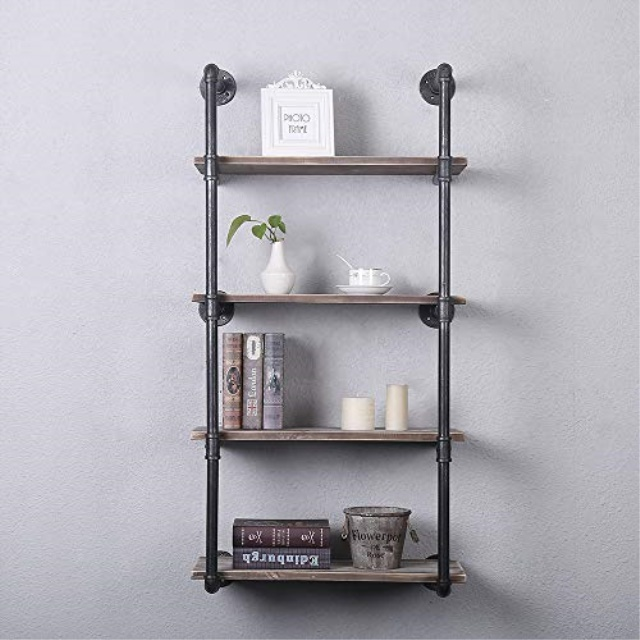 Industrial Pipe Wall Mounted Ladder Floating Shelving Rustic Display Wall Shelf