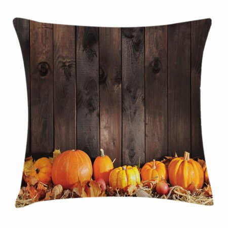 Harvest Throw Pillow Cushion Cover, Thanksgiving Themed Pumpkins Many Shapes and Sizes in Hay Wooden Board Background, Decorative Square Accent Pillow Case, 16 X 16 Inches, Brown Orange, by Ambesonne - Thanksgiving Theme