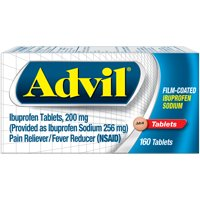 Advil Film-Coated (160 Count) Pain Reliever / Fever Reducer Tablet, 200mg Ibuprofen, Temporary Pain Relief
