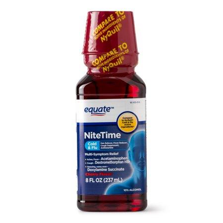 Equate NiteTime Cold & Flu Multi-Symptom Relief, Cherry, 8 Fl