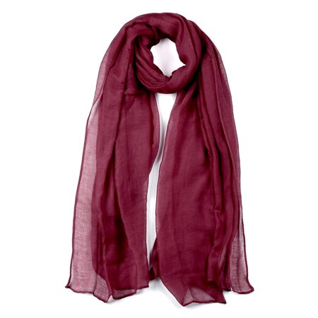 Long Warm Shawl Large Soft Solid Color Scarf for Women Men Burgundy-2 - image 1 of 1