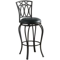 """Bowery Hill 29"""" Faux Leather Metal Bar Stool in Black"""