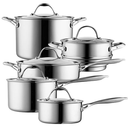 Multi Compact Cookset - Cooks Standard 10-Piece Multi-Ply Clad Cookware Set, Stainless Steel