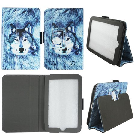 (Snow Wolf Folio Case for Barnes & Nobles Nook HD 7 Tablet Slim Fit Leather Standing Cover with Auto Sleep/ Wake Feature)