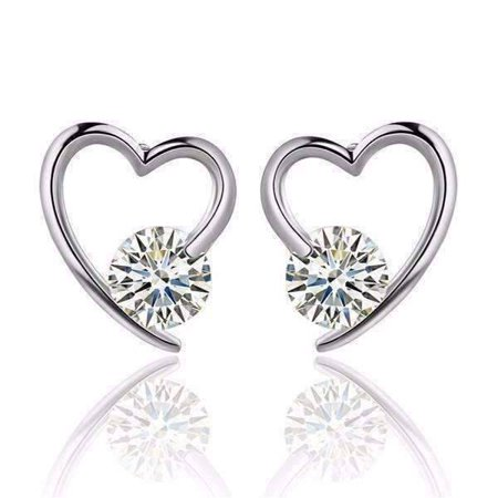 ON SALE - Heart Wrapped Austrian Crystal Stud Earrings White Gold ()