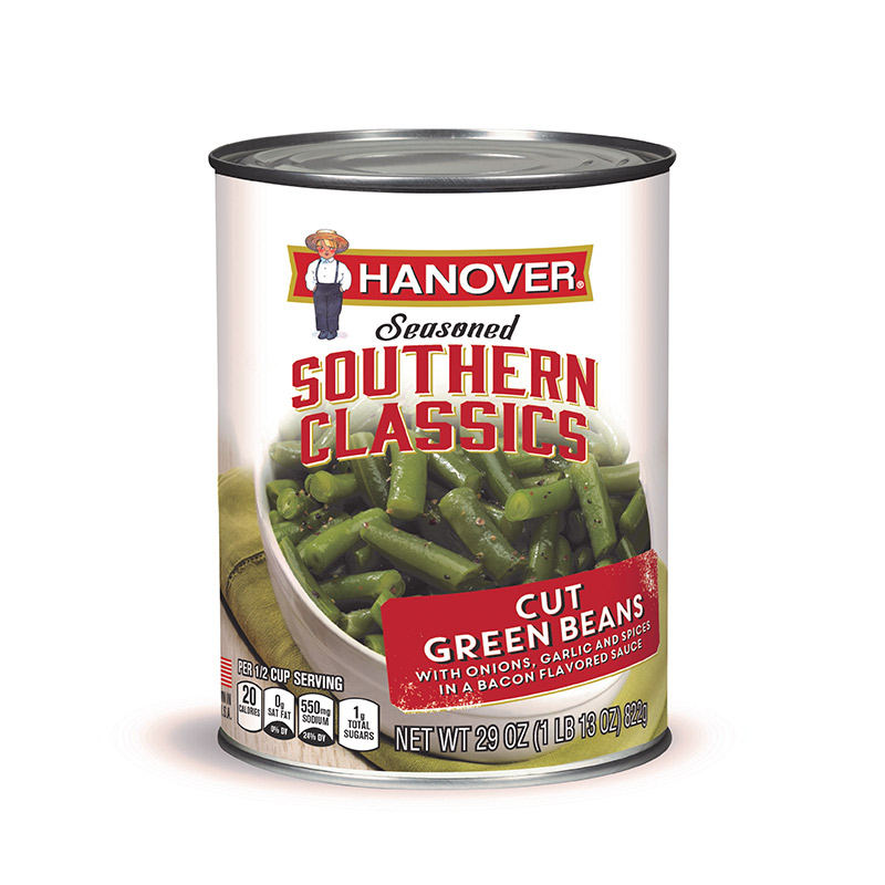 Hanover Foods Seasoned Southern Classics Cut Green Beans, 29oz