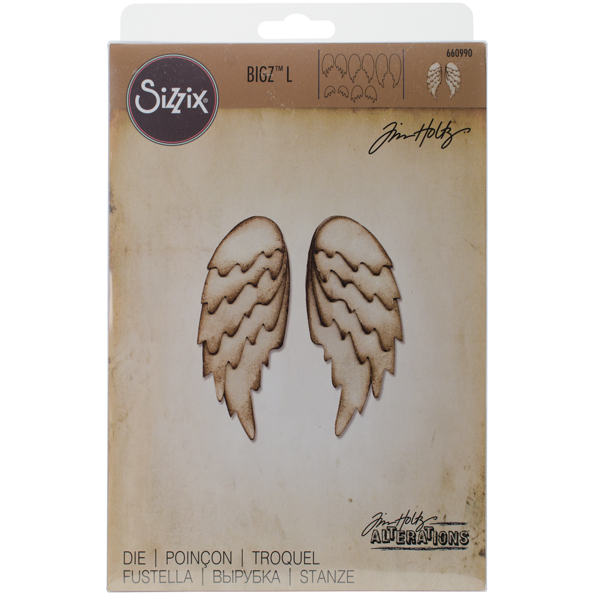 """Sizzix Bigz Large Die By Tim Holtz 6""""X8.75""""-Feathered Wings"""