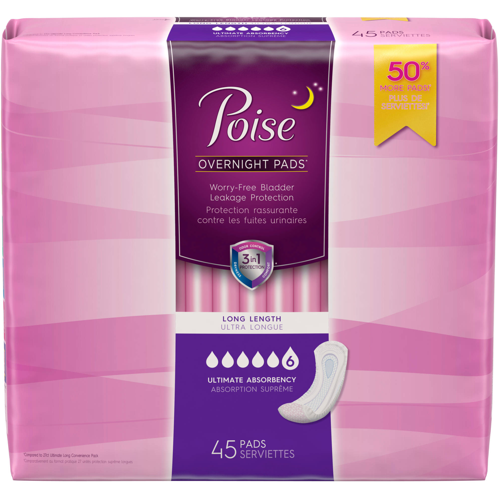 Poise Incontinence Overnight Pads, 45 count