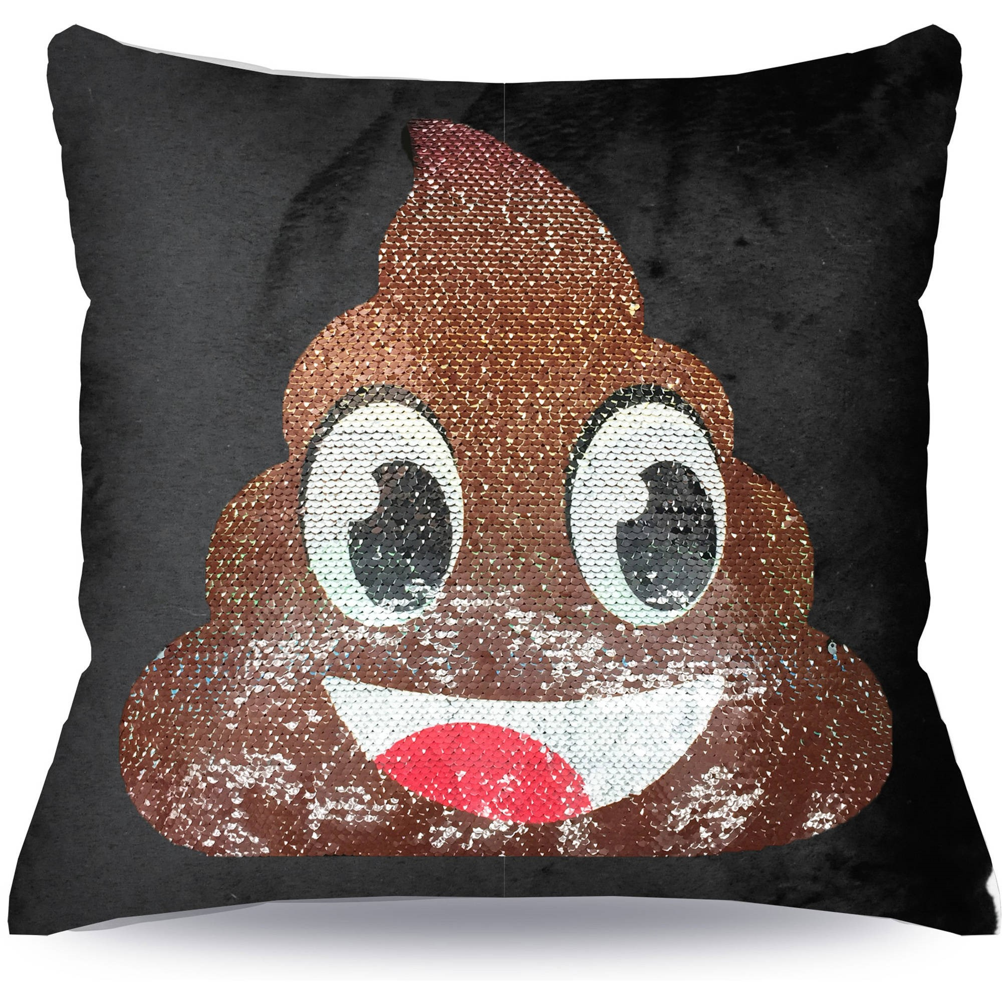 EmojiPals Poop Reverisble Sequin Decorative Pillow